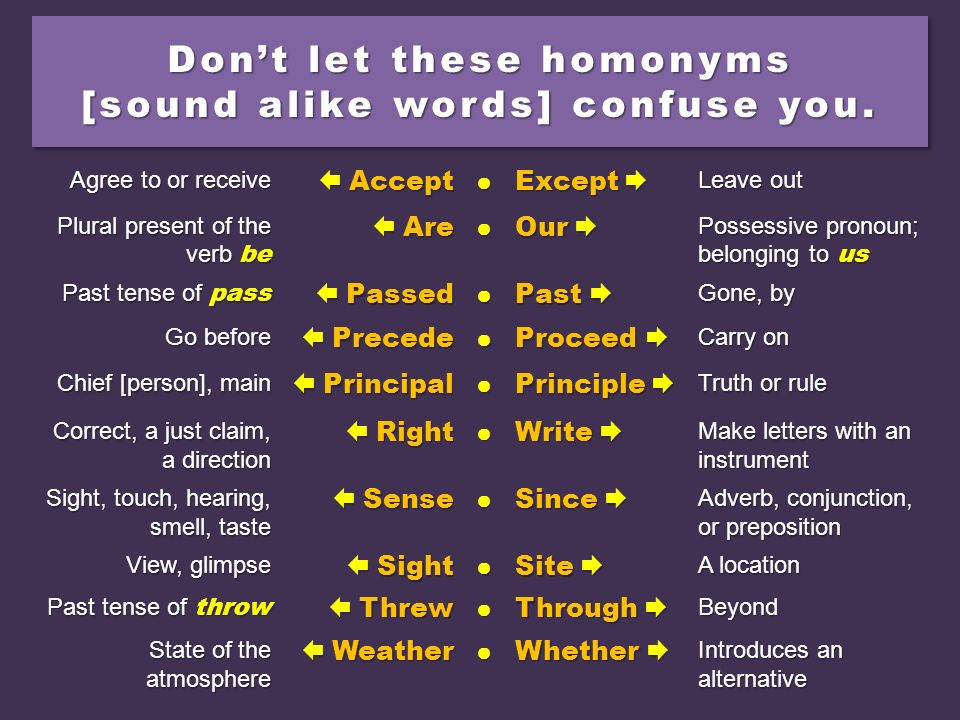 Don't let these homonyms [sound alike words] confuse you.